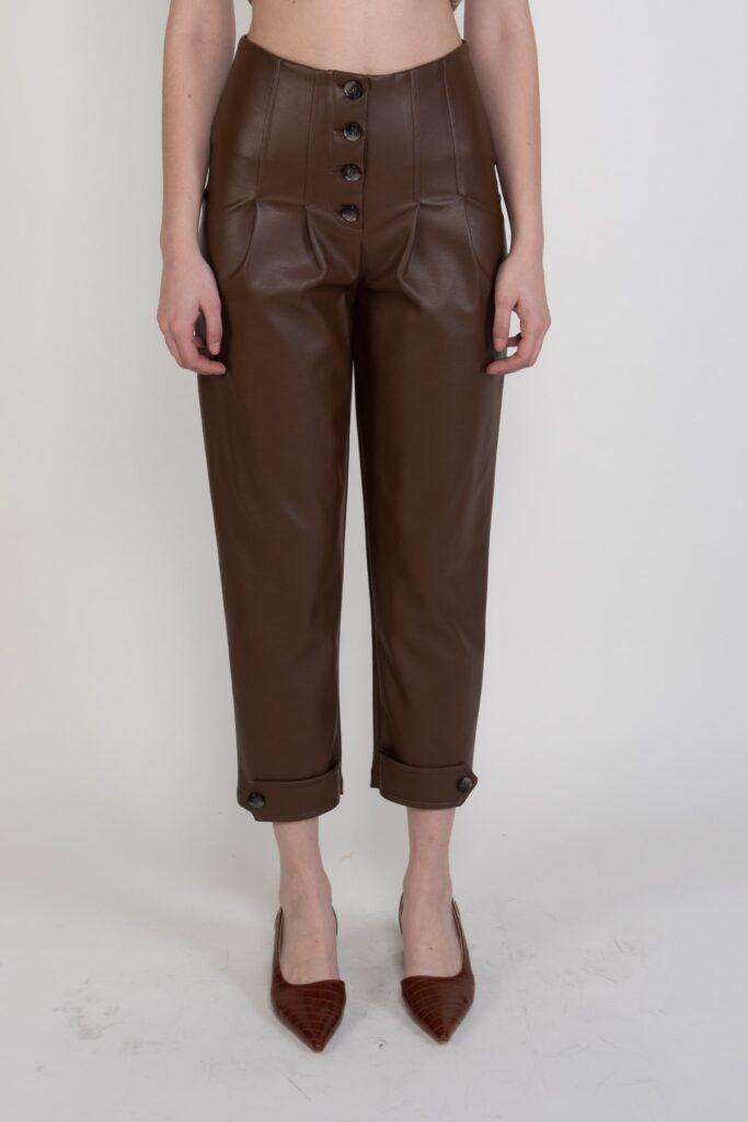 Sembol Deri Efektli Düğme Detaylı Şık Kadın Pantolon 3291