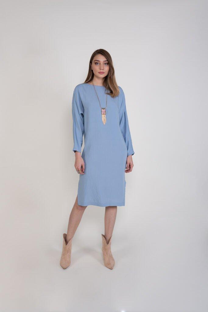 Sembol Kadın Kayık Yaka Yarasa Kol Yırtmaç Detaylı Elbise 978602