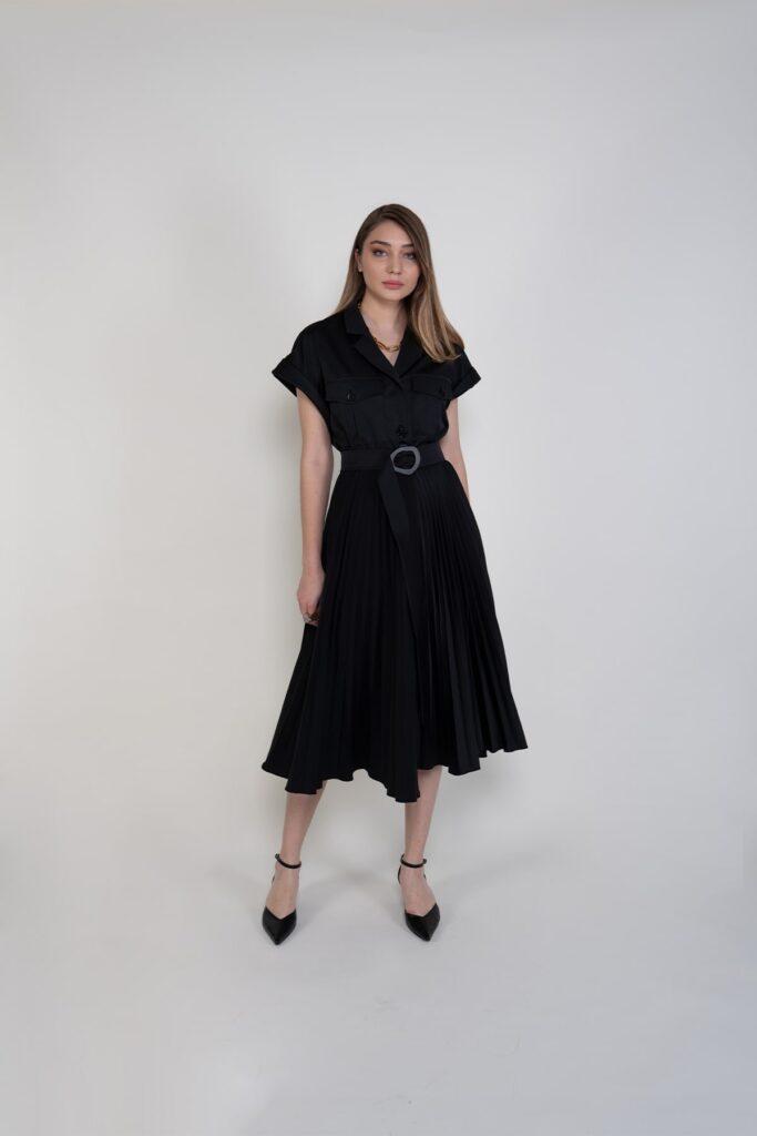 Sembol Giyim Pilise Etekli Kemer Detaylı Kadın Elbise 9913